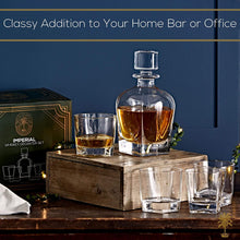Load image into Gallery viewer, Imperial Whiskey Decanter Set for Men - Regal Trunk Whiskey Glass Set of 4 with Crystal Glass Decanter - Stylish Lead-Free Bourbon Scotch Liquor Dispenser and 4 Rocks Glasses - Glass Polishing Cloth