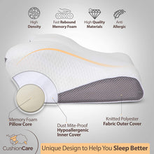 Load image into Gallery viewer, Cervical Memory Foam Pillow for Side, Back, Stomach Sleepers Grey Color