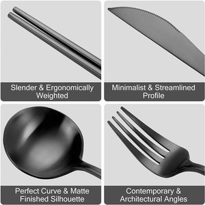 Black Silverware Set Stainless Steel 8 piece Forks Spoons And Knives Set