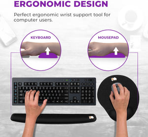 Ergonomic Keyboard Wrist Rest Pad + Mouse Pad with Wrist Support Purple