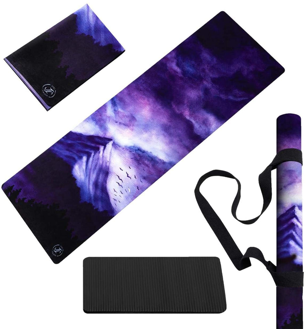 Yoga Mat Foldable Lightweight - Thin Light Non-Slip Travel Mat Dream Night