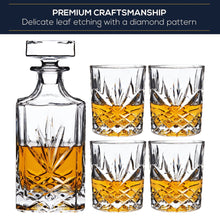 Load image into Gallery viewer, Diamond Cut 5 Piece Whiskey Decanter Set