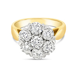 18Ct Yellow Gold Diamond Cluster Madonna Ring 2.00Ct Tdw J/I1