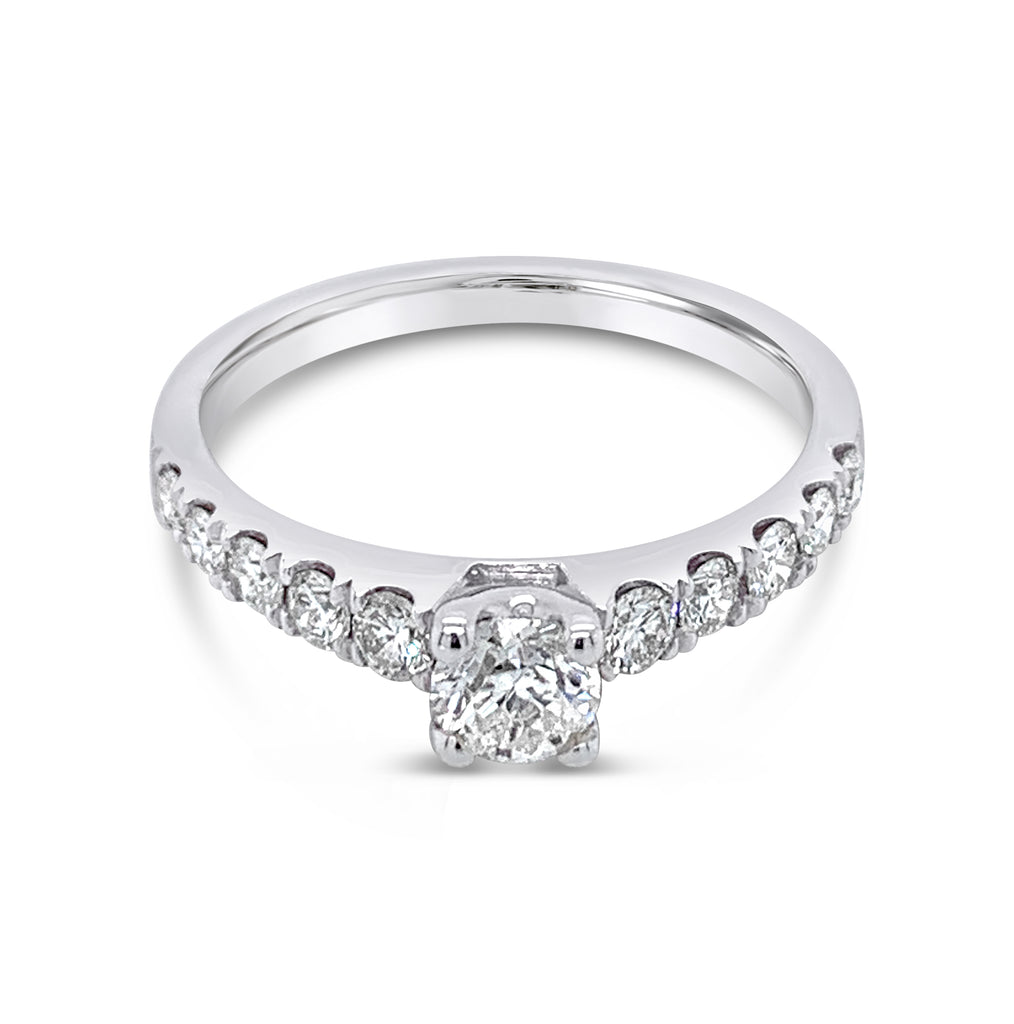 Diamond Solitaire Ring Shoulder Accents 0.84Ct