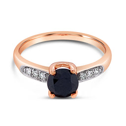 Black Diamond Ring Rose Gold 1.03Ct