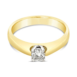 18Ct Yellow Gold Diamond Solitaire Oriana Ring 0.23Ct
