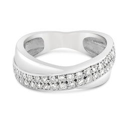 9Ct White Diamond Crossover Terina Ring