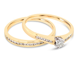 Diamond Duo Set Rings Yellow Gold 0.27Ct