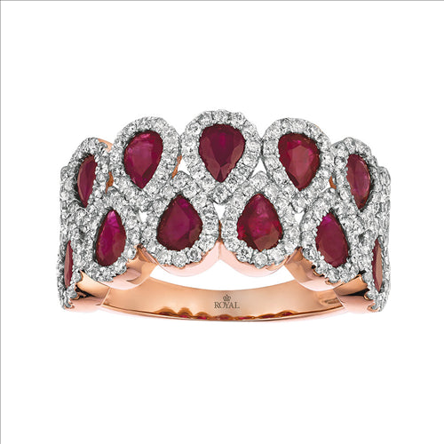 Rose Gold Ruby & Diamond Ring 0301