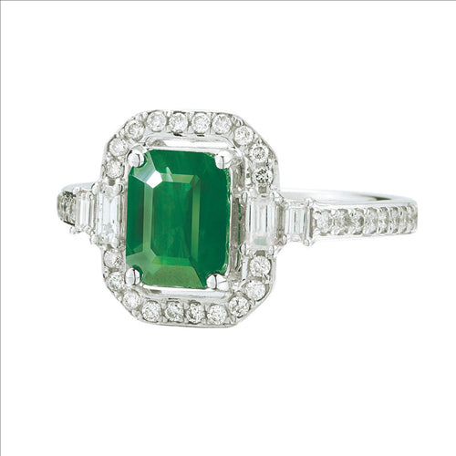 White Gold Emerald & Diamond Ring 1101