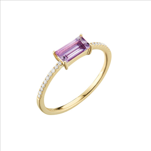 Yellow Gold Amethyst & Diamond Ring1401