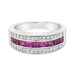 9Ct White Gold Pink Sapphire And Diamond Rosa Ring