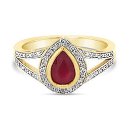 9Ct Yellow Gold Ruby Diamond Electra Ring