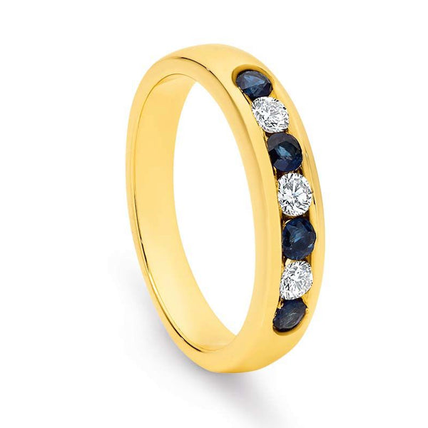 Sapphire And Diamond Channel Set Ring