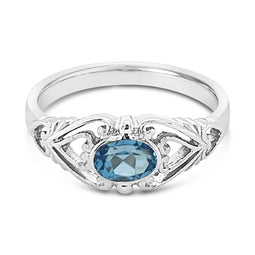 9Ct White Gold Swiss Blue Topaz Mijanou Ring