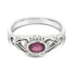 9Ct White Gold Rhodolite Garnet Mijanou Ring
