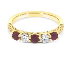 18Ct Yellow Gold Ruby Diamond Five Stone Bella Ring