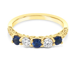 18Ct Yellow Gold Ceylon Sapphire Diamond Pia Ring