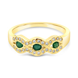 9Ct Yellow Gold Emerald & Diamond Carina Ring
