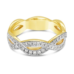 9Ct Yellow Gold Diamond Plaited Anniversary Concetta Ring