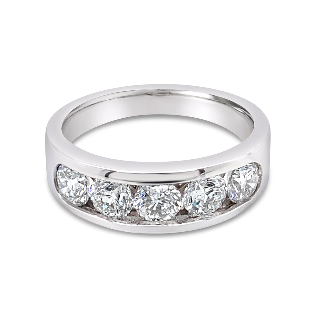 Diamond Channel Set Ring White Gold