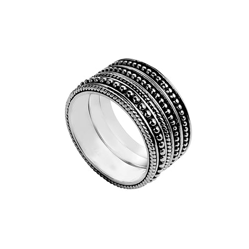 Najo Sterling Silver Oxidised Patterned Ring