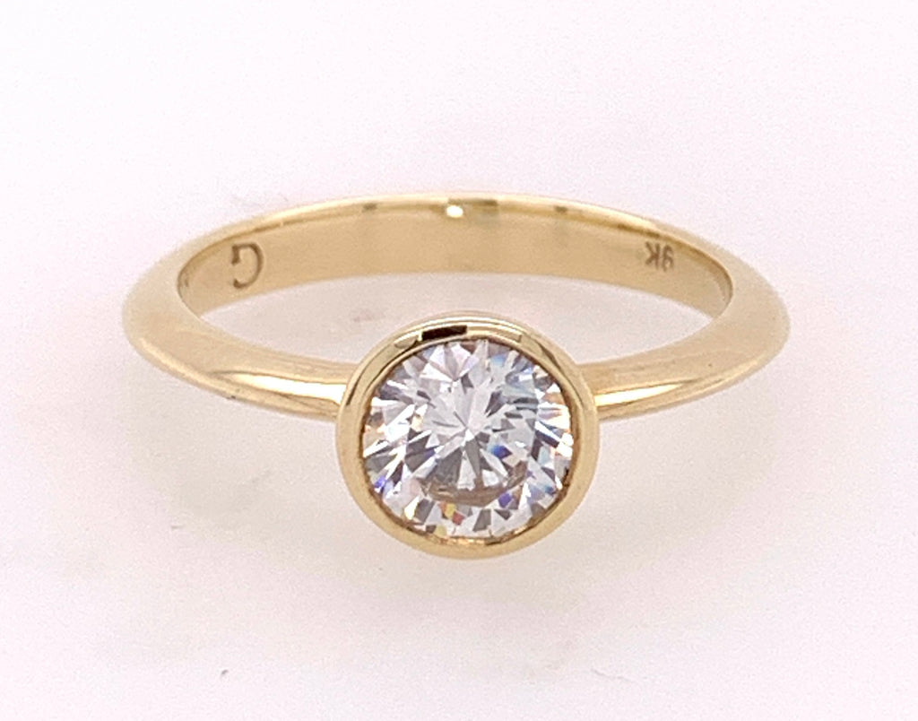 9Ct Yellow Gold Round Solitaire Cz Ring
