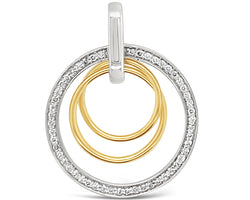 Diamond Circle Pendant Two Tone Gold