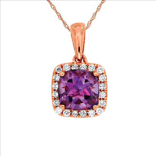 Rose Gold Amethyst & Diamond Pendant