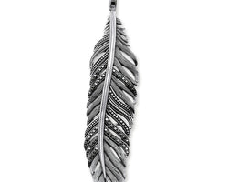 Silver & Black Cz Falcon Feather Pendant
