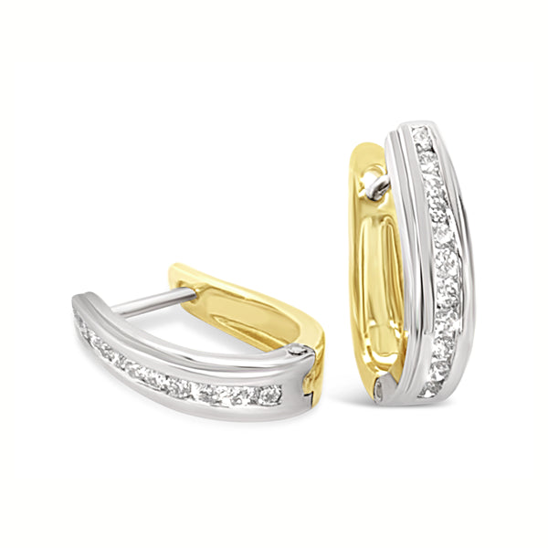 Diamond Huggies Earrings 9Ct Yellow/White Gold 0.33Ct