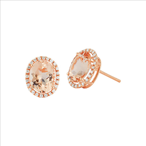 Rose Gold Morganite & Diamond Earrings 0203