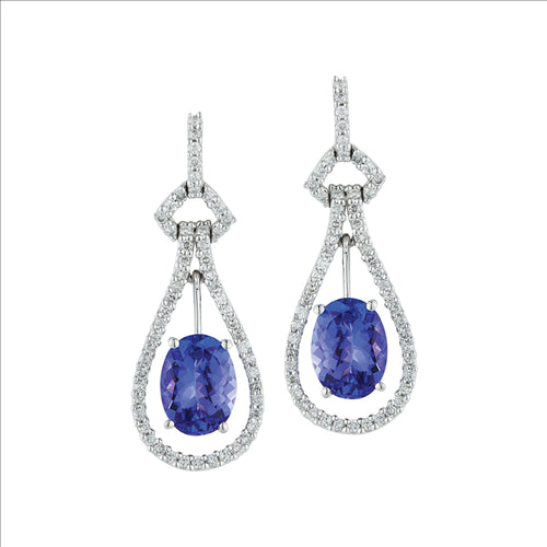 White Gold Tanzanite & Diamond Earrings 0603