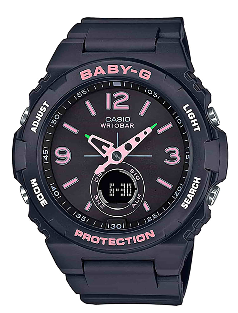 Casio Baby G Duo Vintage Outdoors/Watch Alarm 100M Black/Pink Dial Black Resin Band