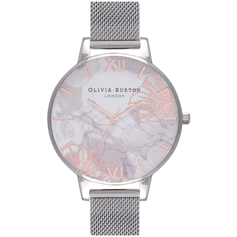 Abstract Florals Silver Case And Mesh Strap Olivia Buton Watch