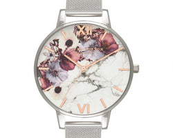 Marble Floral Dial With Silver Watch