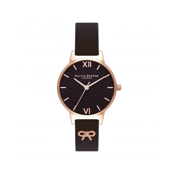 Vintage Bow Rose Gold Plated Case & Black Strap