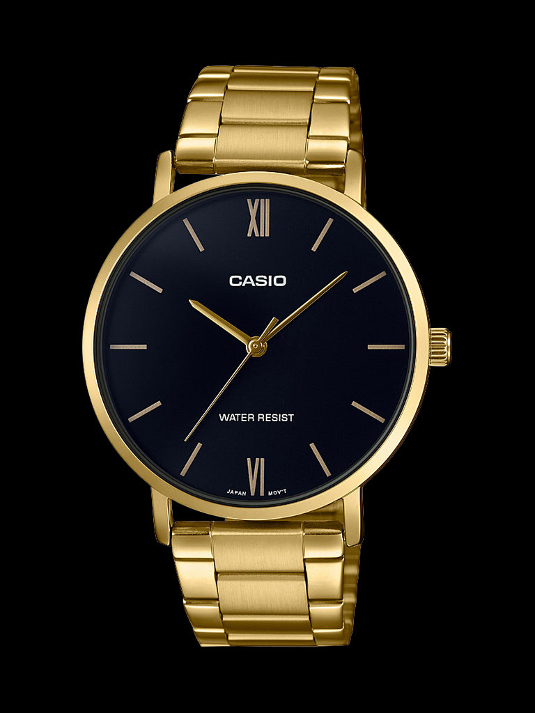 Casio Mens Analogue Wr Ss Band Min Glass Clasp Gold Black Face