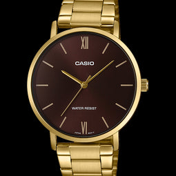 Casio Mens Analogue Gold Brown Face