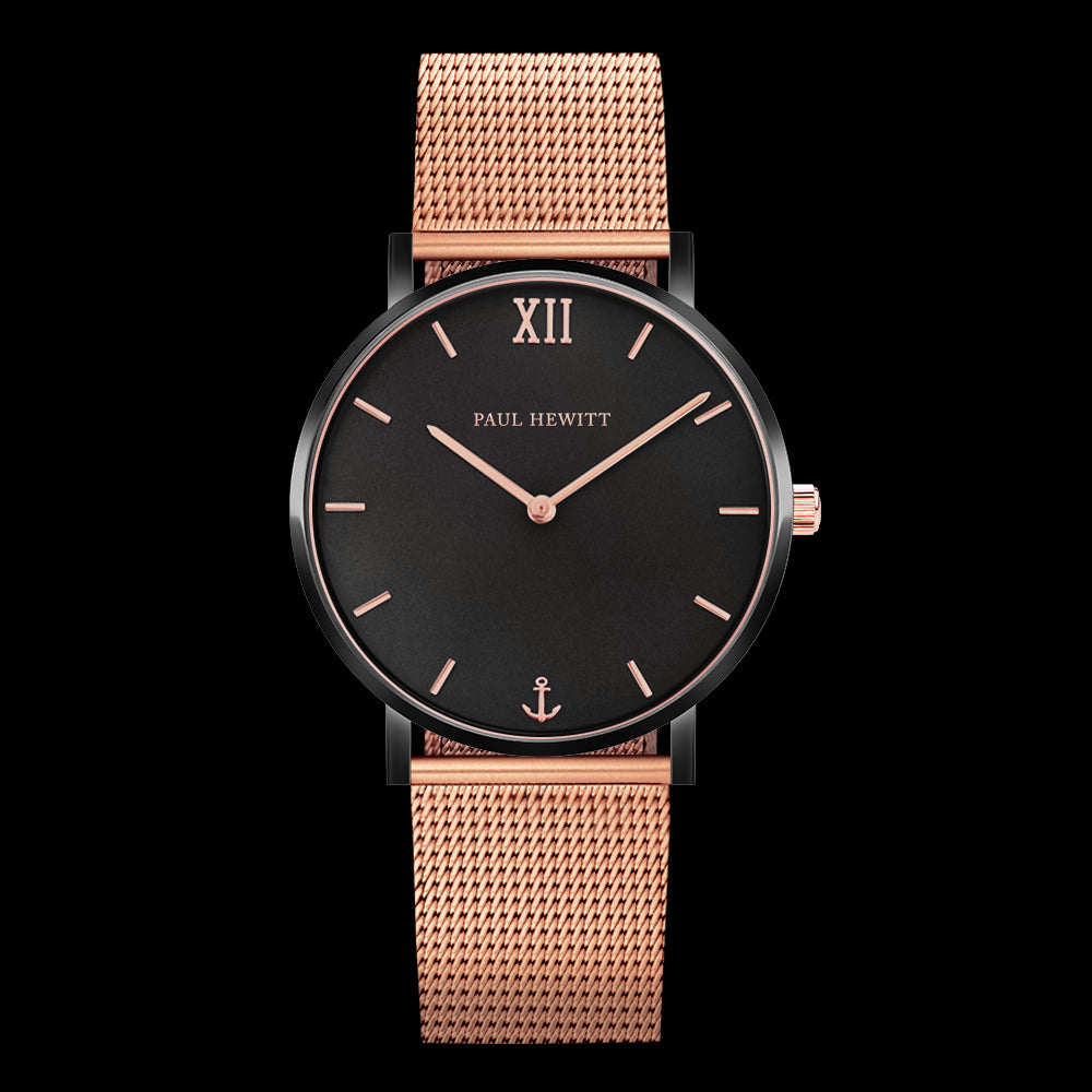 Ph Sailor, Black Case, Black Sunray & Rose Gold Dial, Rose Gold Mesh Strap