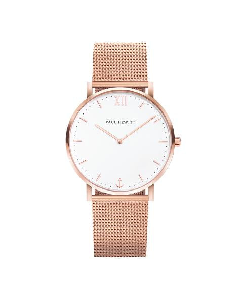 Ph Sailor, Rose Gold Case, Standard White Sand Dial, Rose Gold Mesh Strap