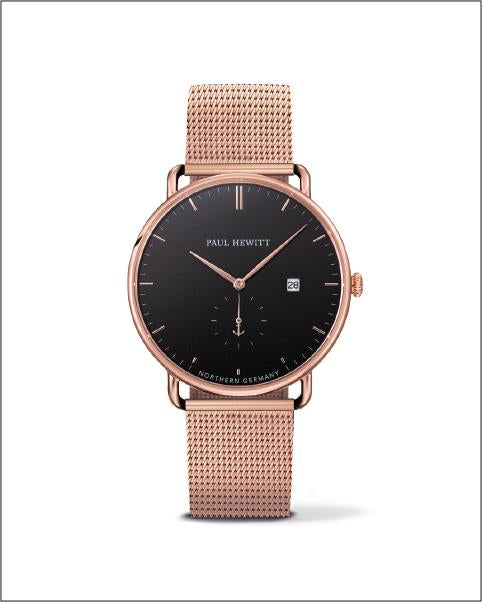 Ph Grand Atlantic, Rose Gold Case, Black Sea Dial, Rose Gold Mesh Strap