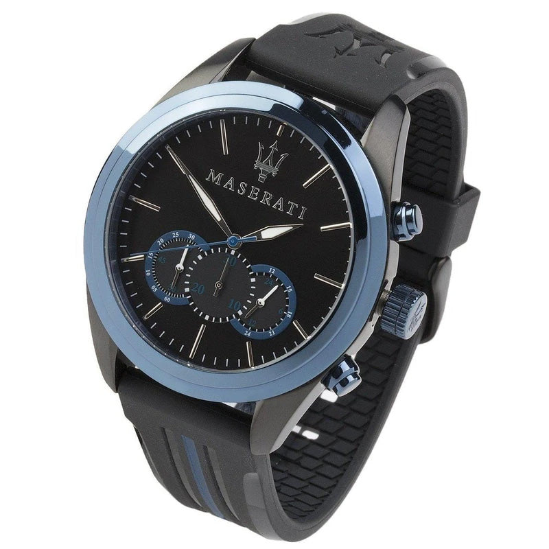 Maserati Traguardo 45Mm Chrono Blue Dl Sil St B Ip Black