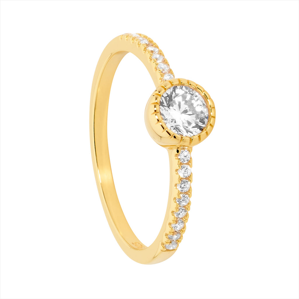 Gold Plated Cz Solitaire Ring