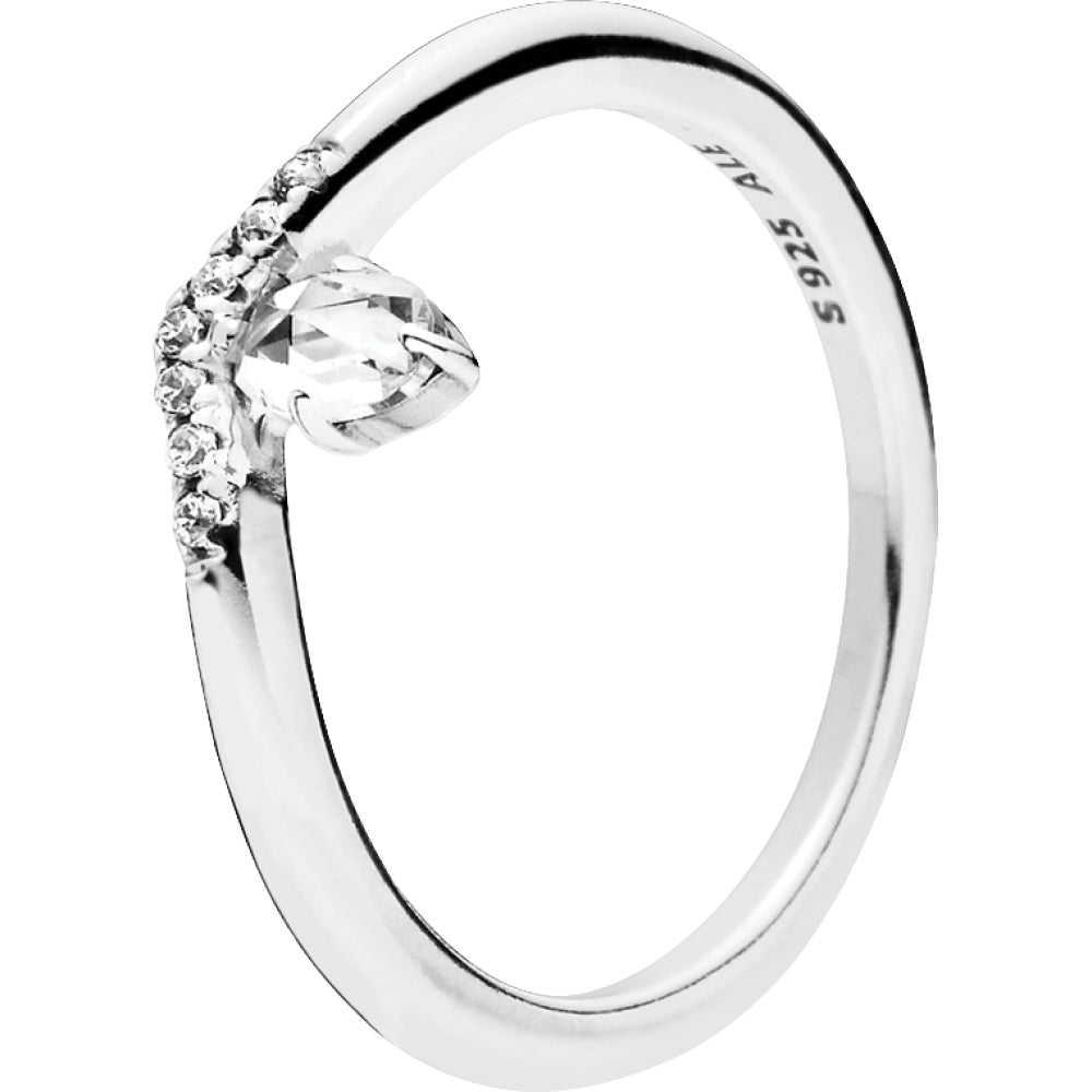 Classic Wish Silver Ring W Clear Cz
