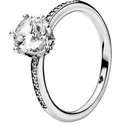 Clear Sparkling Crown Silver Ring W Clear Cz