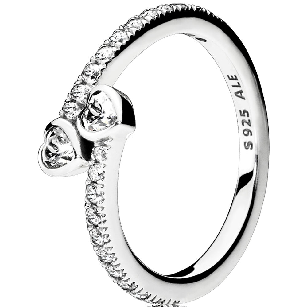 Forever Hearts Silver Feature Ring W Cz