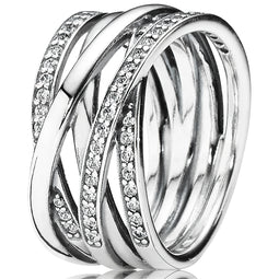 Entwined Strands Wide Silver Ring W Cz