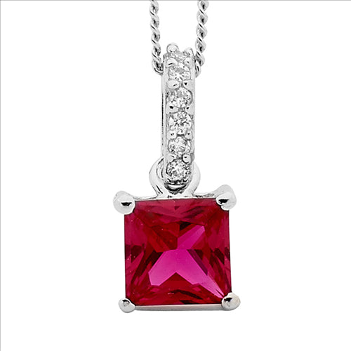 Sterling Silver Red And White Cz Pendant