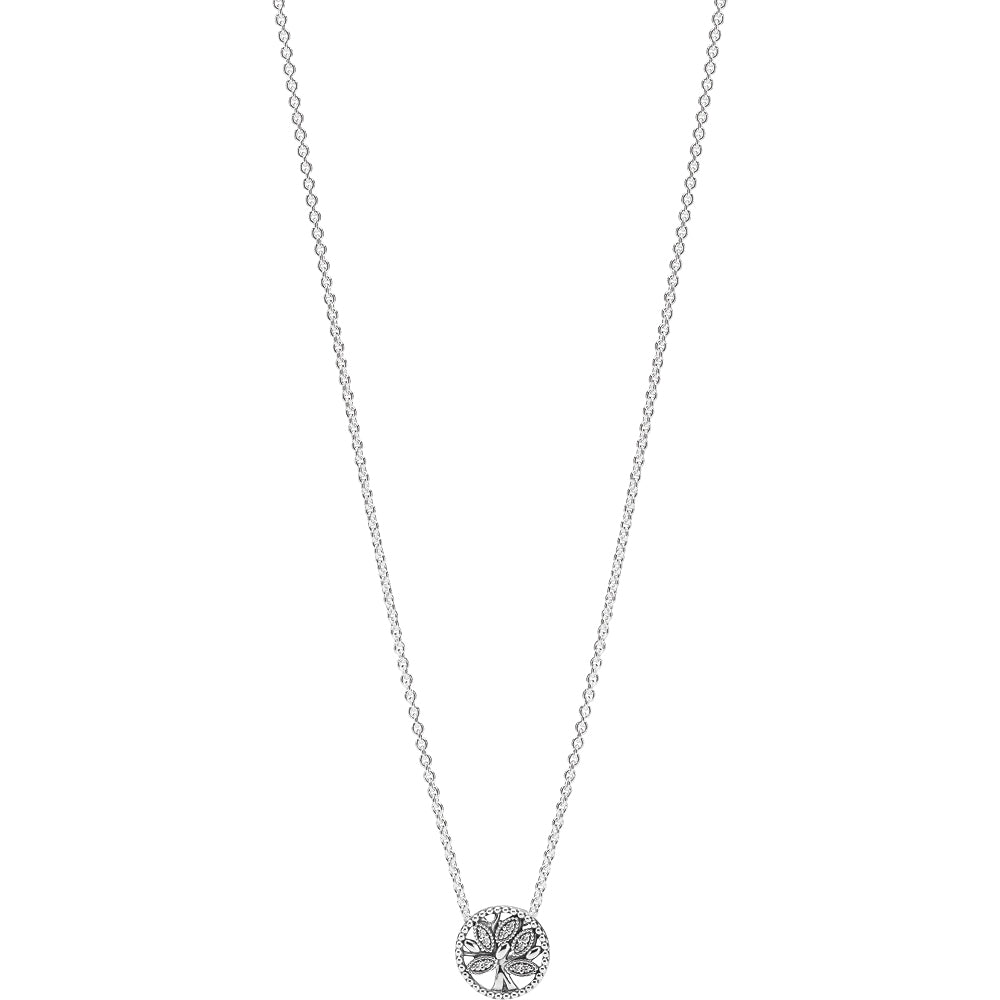 Pandora Tree Of Life Silver Necklace W Clear Cz